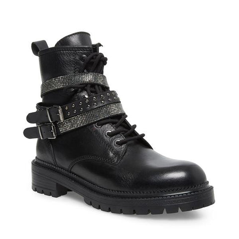 Steve Madden CAPTAIN Black Leather Embellished Straps Combat Moto Lug Boots