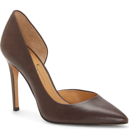 JESSICA SIMPSON WOMEN'S PHEONA POINTED TOE DRESS PUMPS DARK MARRONE LEATHER