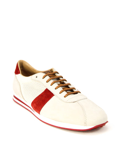 Tod's Men's Allacciato Shoes Leather Trainers Sneakers, ROSSO ARANCIATO Lace Up