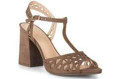 Klub Nico TESSA Heeled Sandals Truffle Suede Open Toe Block Heel Laser-cut Pump