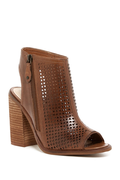 Kelsi Dagger Brooklyn Mason Tan Cognac Leather Perforated Block-Heel Sandal Boot