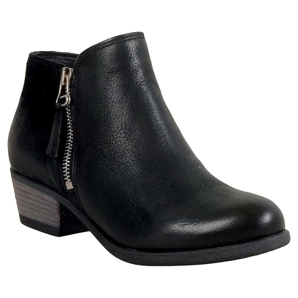 Miz Mooz Bangkok Womens Black Zippered Heeled Classic Ankle Bootie