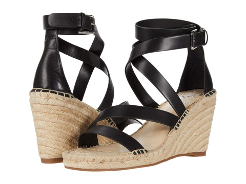 Vince Camuto Women's Mesteria Ankle Strap Espadrille Wedge Sandal BLACK