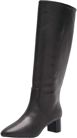 STEVEN by Steve Madden REALLIE Black Smooth LeatherKnee High Boot