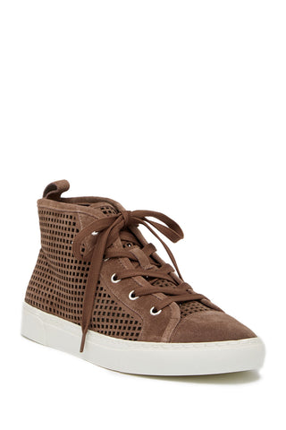 1.State Dulcia Mink Suede Perforated White Sole LaceUp High-Top Fashion Sneaker
