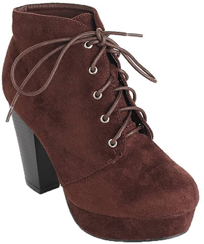 Forever Camille-86 Women's Comfort Stacked Lace Up Ankle Booties Brown