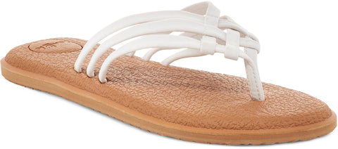 Sanuk YOGA SALTY Thong Flip Flop Sandals WHITE/ TAN