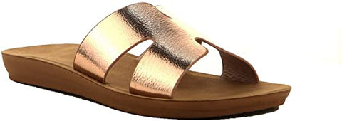 Cape Robbin Everyday H Greece Modern Slip-on Slide Sandals Rose Gold