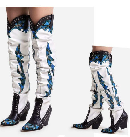 Cape Robbin Sunset White Blue Over The Knee Slouchy Western Kelsey Dress Boots