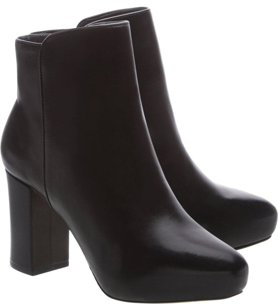 Schutz Cibby Black Leather Blosk High Heel Ankle Boots Hidden Platform Bootie