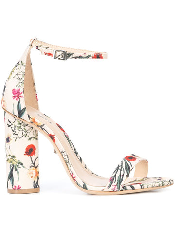 Schutz Jeannine Block Heel Sandals Multi Natural Flower Print Ankle Strap Pump