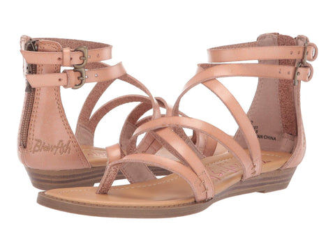 Blowfish Malibu Bungalow-k Crisscrossed Strap Sandals Nude Glitter Dyecut PU