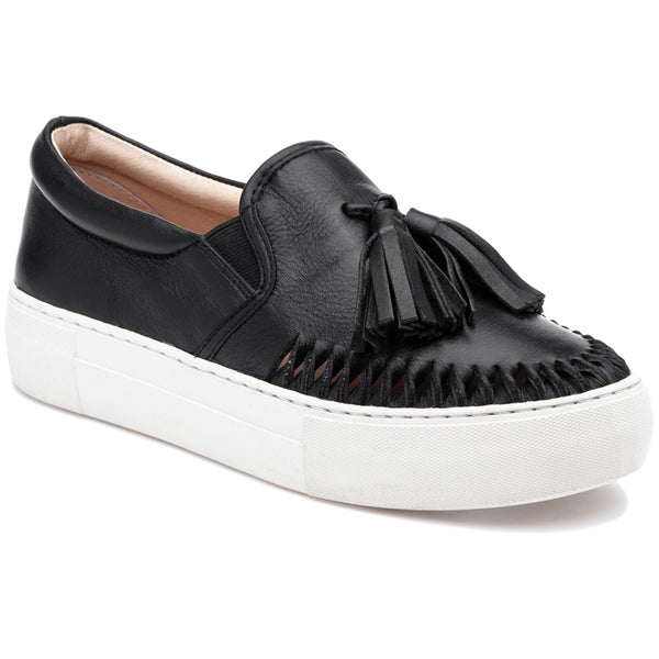 J/Slides Aztec Black Leather Loafer White Platform Tassel Sneaker