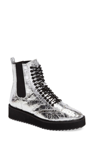 Shellys London Lily GRAPHITE CRINKLE LEATHER Chelsea Platform Boot
