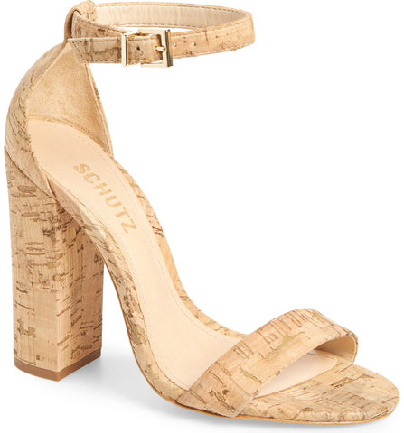 Schutz Enida Open Toe Ankle Strap Chunky Heel Natural Cork Two Peice Pump