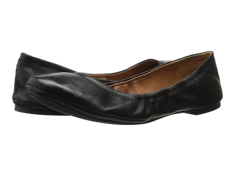 Lucky Brand Emmie Leather Ballet Flats Shoes BLACK