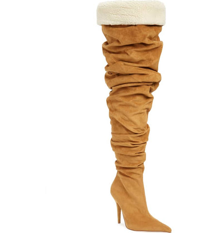 Jeffrey Campbell Igloo Tan Suede Over the Knee Pointed Toe Stiletto HIgh Boot