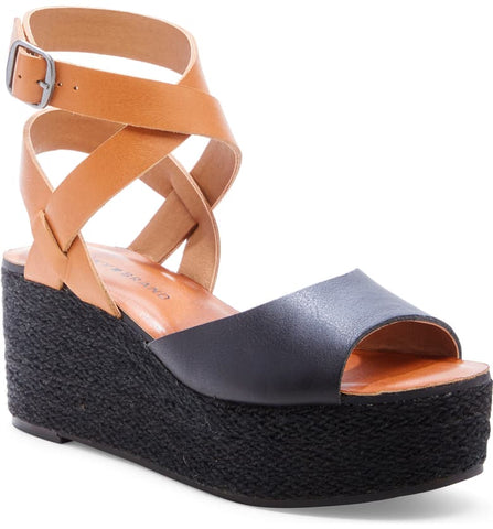 Lucky Brand Women's Ginny Espadrille Wedge Sandal Tan Black Leather Platform