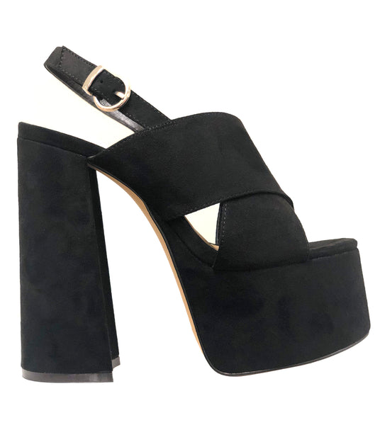 Luxemoda Kimberly Black Wrapped Platform Retro Heel Peep Toe Mule Sandals
