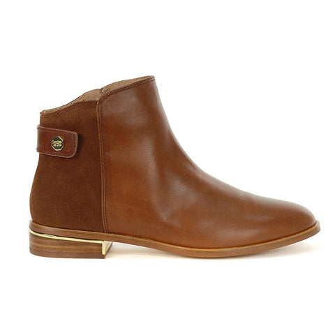 Louise Et Cie Women's Tangie Leather Pointed Toe Cognac Leather Riding Bootie
