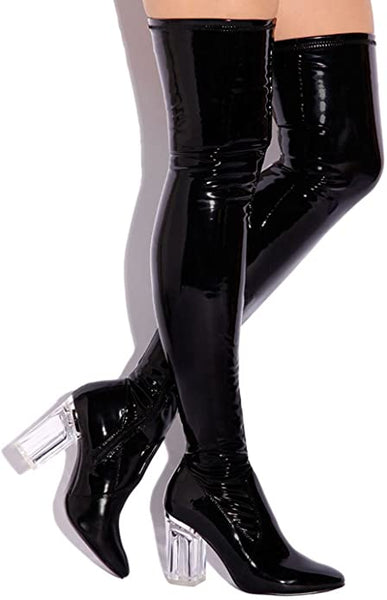 Cape Robbin Fay-2 Over Knee Glass Heel Thigh High Boots Black Patent 5.5