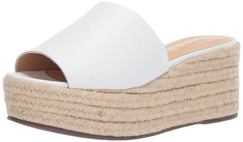 Schutz Thalia White Leather Espadrille Open-Toe Wedge Platform Slip-On Sandals