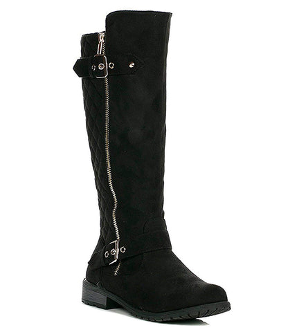 Forever Link Mango-23 Black Suede Two Buckles Knee High Riding Boots
