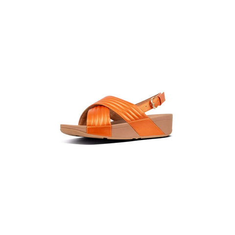 FitFlop Lulu Padded Sandal Flip-Flop Amber Ash Orange Sling Back Wedge Mule