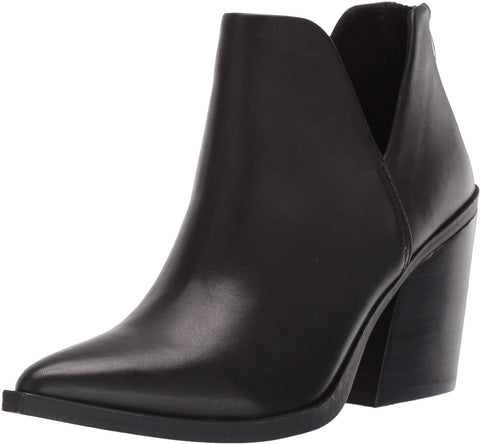 Steve Madden Women's Alyse Side cut  Leather Bootie Black Block Heel Pointed Boot