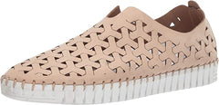 Eric Michael Inez European Open Lattice Light Weight Slip On Flat Beige