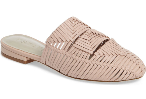 1.State Syre Bare Nude Geometric Woven Leather Flat Slip-On Slide Mule