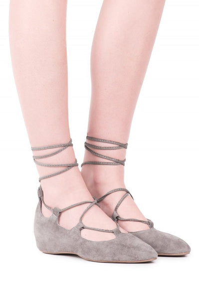 Jeffery Campbell Atsuko Taupe Suede Wrap Around Lace Up Pointed Toe Wedge Flats