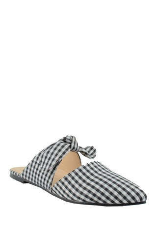 Chase&Chloe Fione Black/White Plaid Pointed Knotted Flat