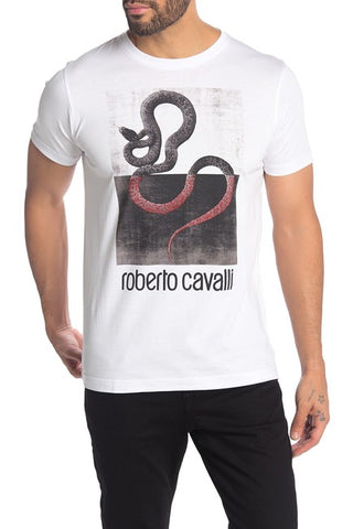 Roberto Cavalli Snake Graphic Short Sleeve Cotton T-Shirt White FST963A02700053