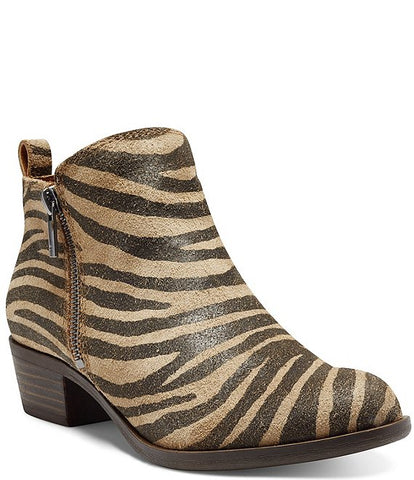 Lucky Brand Basel Tiger Low Cut Ankle Bootie Block Heel Boot