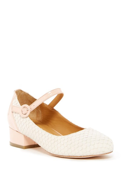 Cecelia New York Dion PINK Embossed Mary-Jane Low Block Heel Dress Pumps