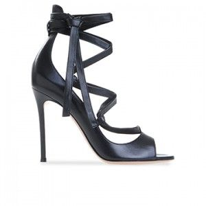 Gianvito Rossi Maska Black Leather Open Tie Up Single Sole Sexy Dress Sandal