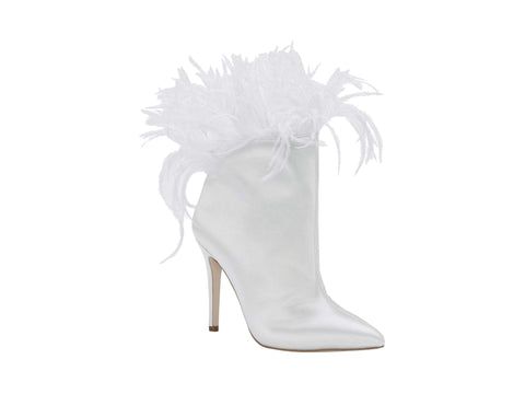 Jessica Simpson Womens Prixey Feather Trim Pointed Toe Bootie WHITE