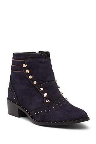 Ivy Kirzhner Soldier Ink Blue Italian Suede Studded Edgy Designer Ankle Bootie