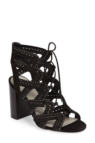 1.State Kayley Black Suede Caged Studded Block Heel Sandal