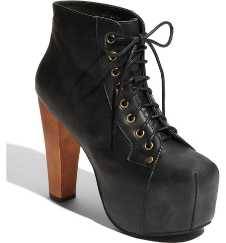 Jeffrey Campbell Lita Black Disressed Leather Wood Heel Platform Lace Up Boot