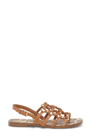 Vince Camuto Women's Richintie Leather Caged Strappy Flat Sandal BRICK