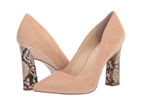 Jessica Simpson Women's Accie Pointed Toe Animal Print Heel Pump ALMOND