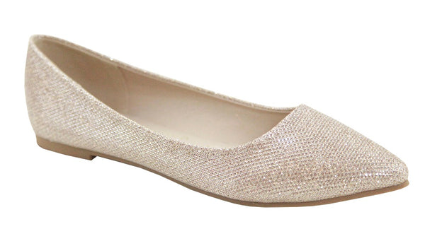 Bella Marie Angie Classic Pointy Toe Ballet Flats Shoes Champagne Glitter