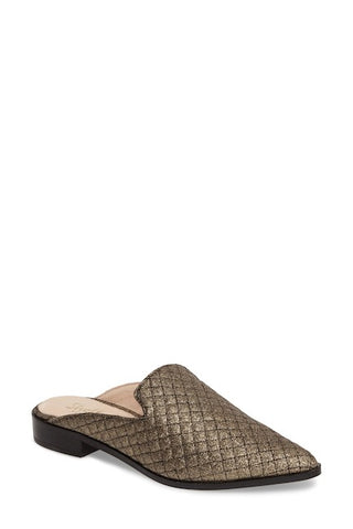 Shellys London Fantasia Dark Gold Quilted Loafer Pointed Toe Mule Slides