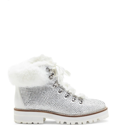 Jessica Simpson NORINA White Crystalized Lace Up Ankle Booties