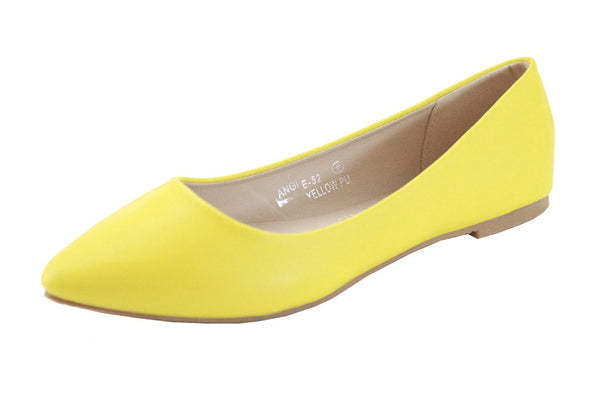 Bella Marie Angie Classic Pointy Toe Ballet Slip On Flats Shoes Yellow