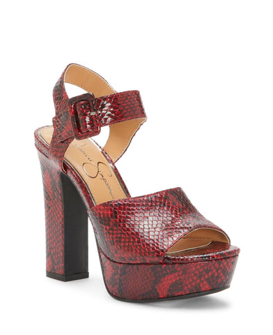 Jessica Simpson Women's Naenia Ankle Wrapped Block Heel Platform Heel Sandal RED