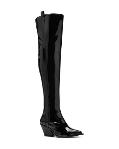 Jessica Simpson Zeana2 Black Patent Over-the-Knee Western Pointed Toe Boots