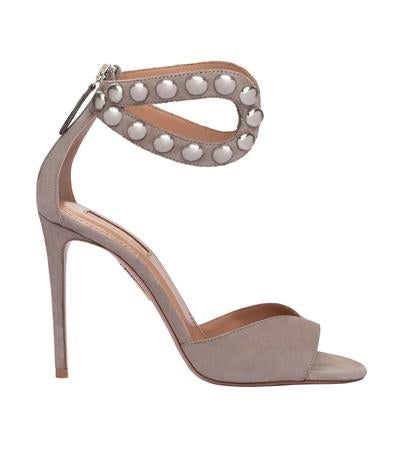 Aquazzura Grey Suede Sandal Pearl Open Toe High Heel Pumps
